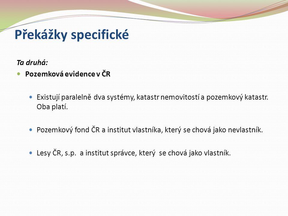 Překážky specifické Ta druhá: Pozemková evidence v ČR