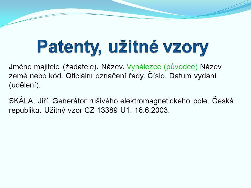 Patenty, užitné vzory
