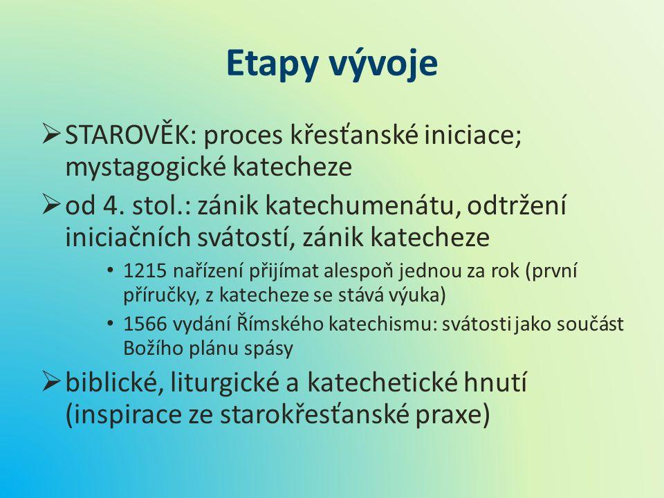 Etapy vývoje STAROVĚK: proces křesťanské iniciace; mystagogické katecheze.