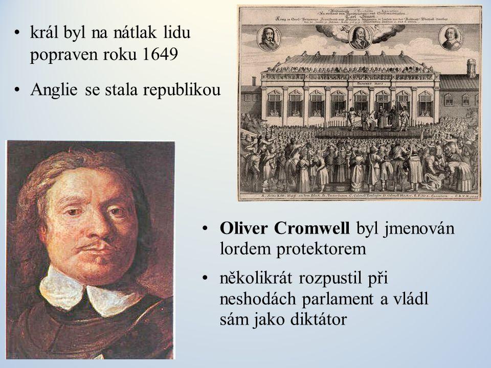 král byl na nátlak lidu popraven roku 1649