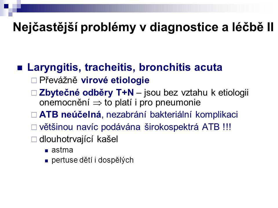 Nejčastější problémy v diagnostice a léčbě II