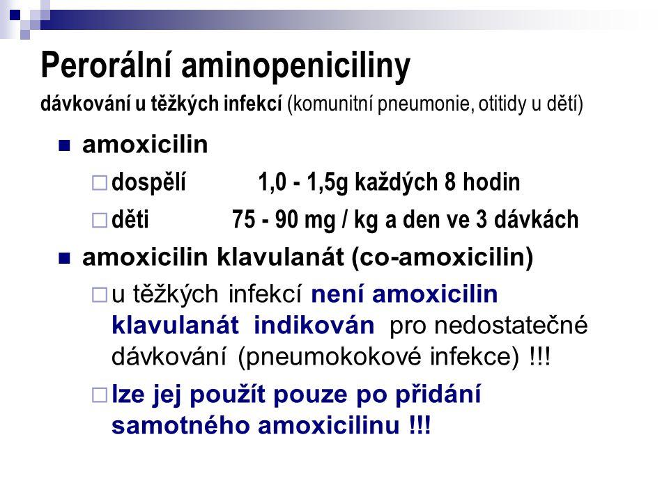 Perorální aminopeniciliny dávkování u těžkých infekcí (komunitní pneumonie, otitidy u dětí)
