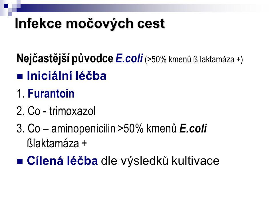 Infekce močových cest Nejčastější původce E.coli (>50% kmenů ß laktamáza +) Iniciální léčba. 1. Furantoin.