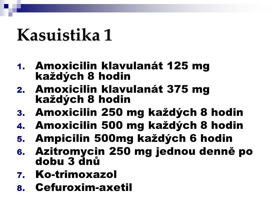 Kasuistika 1 Amoxicilin klavulanát 125 mg každých 8 hodin