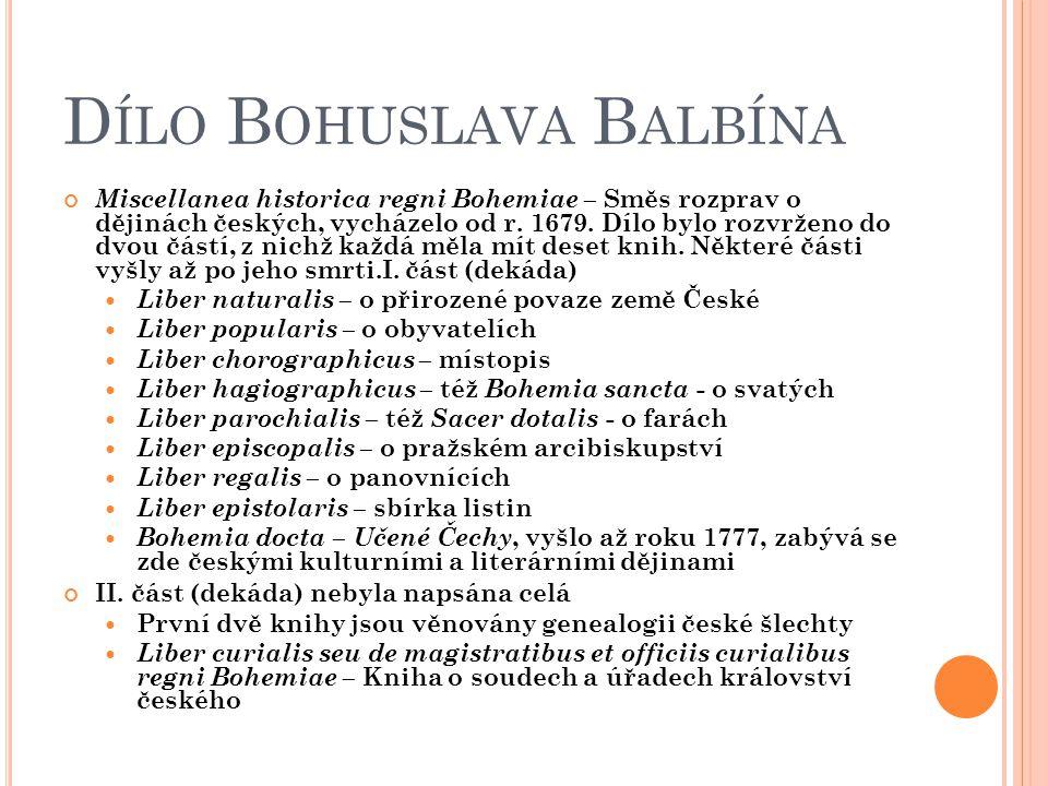 Dílo Bohuslava Balbína