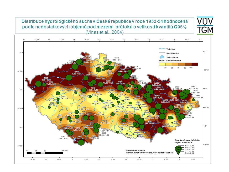 Distribuce hydrologického sucha v České republice v roce 1953-54 hodnocená podle nedostatkových objemů pod mezemi průtoků o velikosti kvantilů Q95% (Vlnas et.al., 2004)