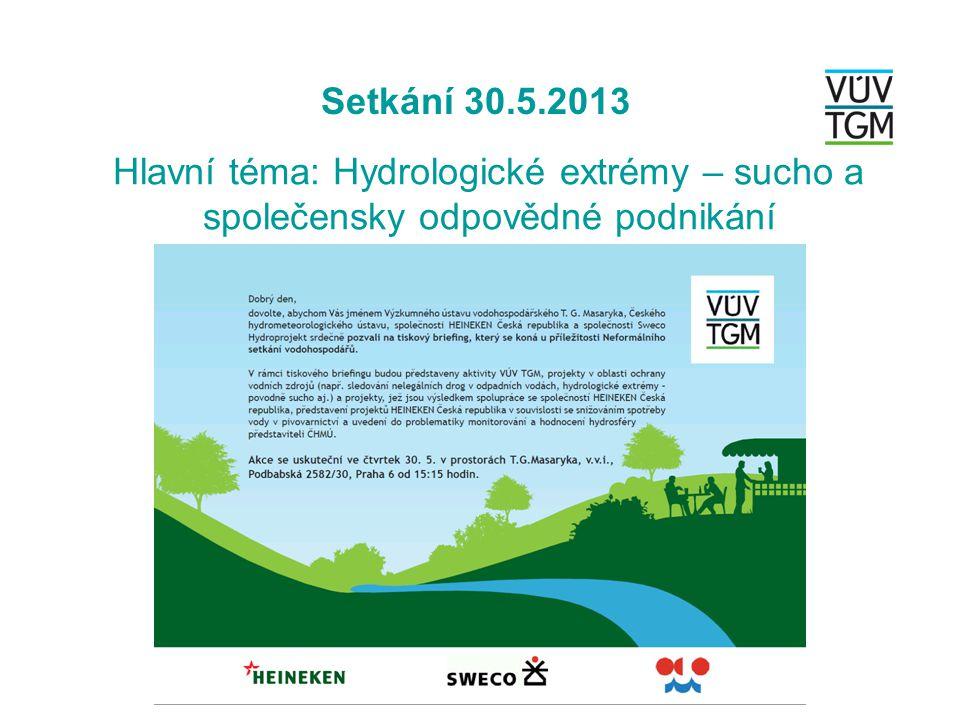 Setkání 30.5.2013 Hlavní téma: Hydrologické extrémy – sucho a společensky odpovědné podnikání