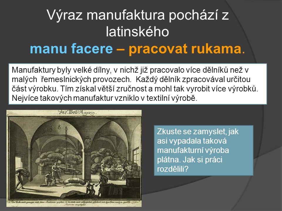Výraz manufaktura pochází z latinského manu facere – pracovat rukama.