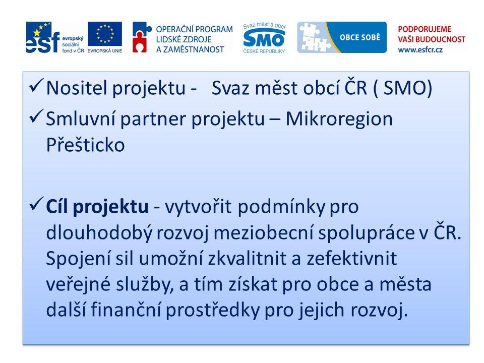 Nositel projektu - Svaz měst obcí ČR ( SMO)