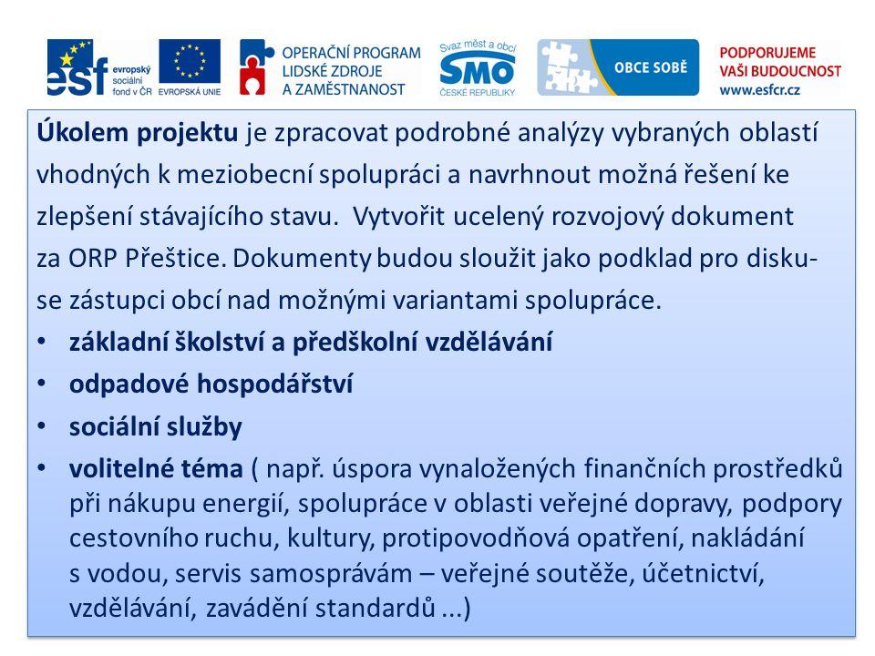 Úkolem projektu je zpracovat podrobné analýzy vybraných oblastí