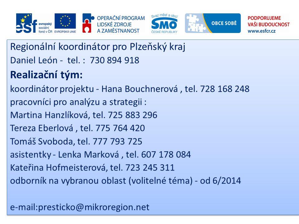 Realizační tým: Regionální koordinátor pro Plzeňský kraj