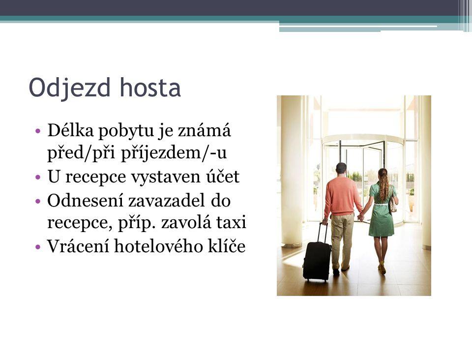 Odjezd hosta Délka pobytu je známá před/při příjezdem/-u