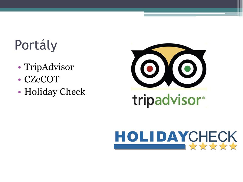 Portály TripAdvisor CZeCOT Holiday Check