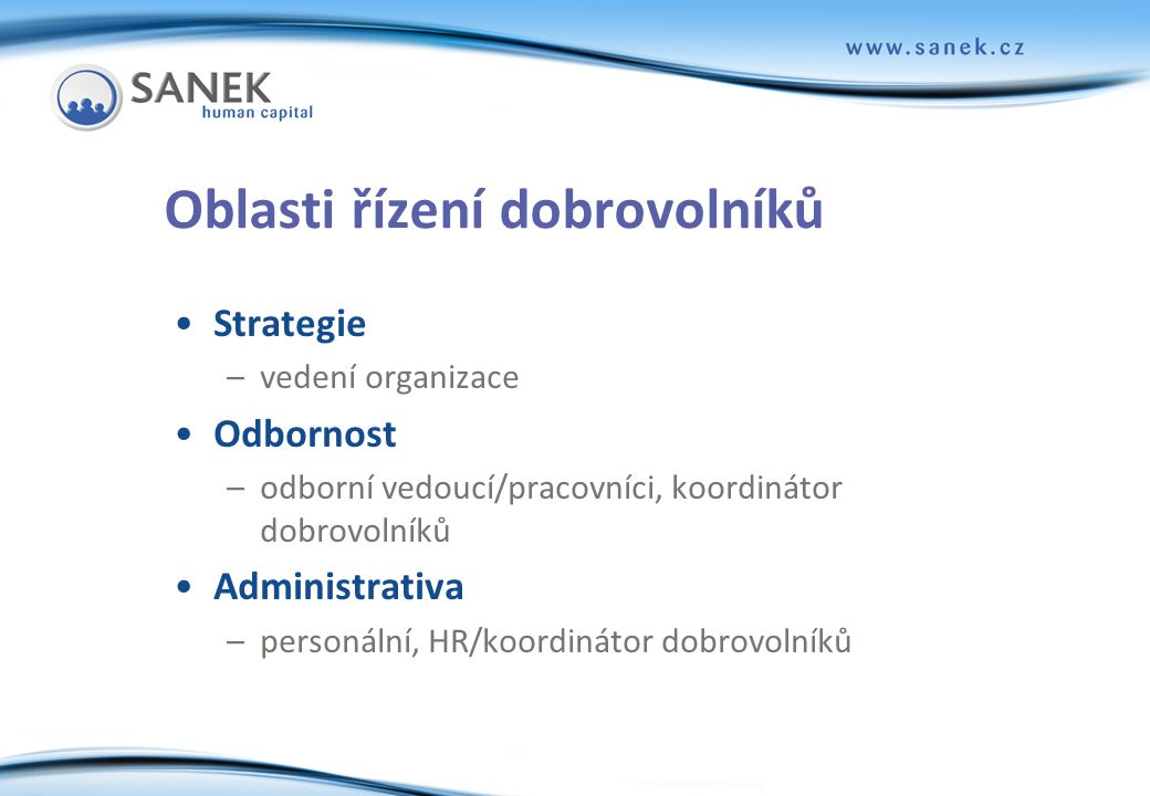 Oblasti řízení dobrovolníků