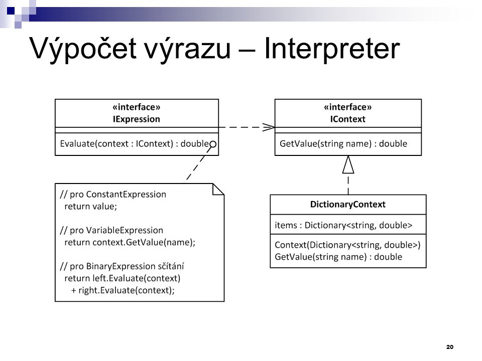 Výpočet výrazu – Interpreter