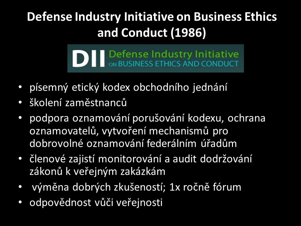Defense Industry Initiative on Business Ethics and Conduct (1986)