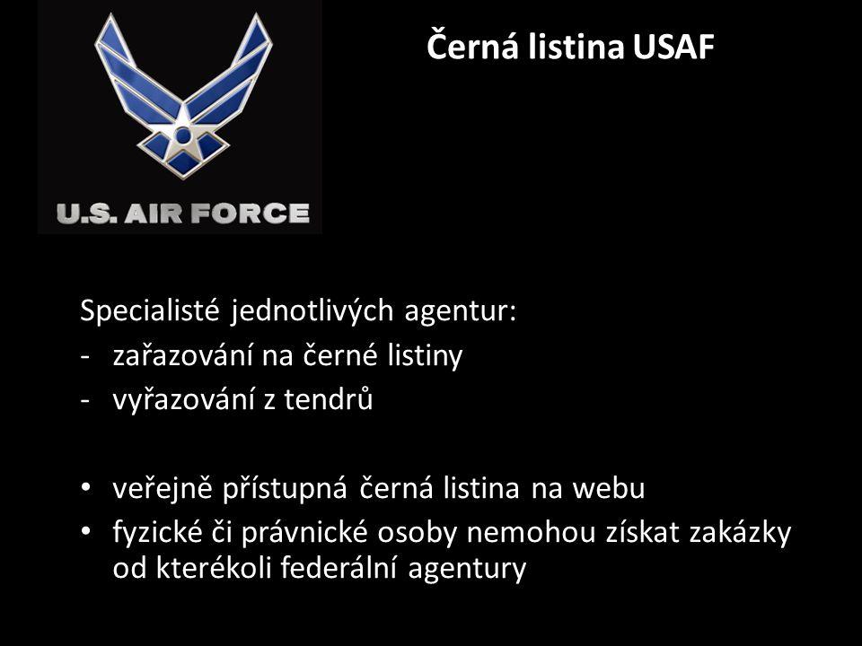 Černá listina USAF Specialisté jednotlivých agentur: