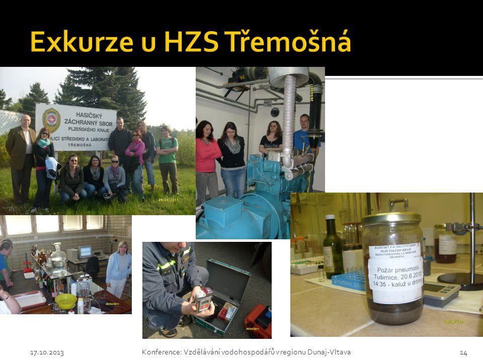 Exkurze u HZS Třemošná 17.10.2013 Konference: Vzdělávání vodohospodářů v regionu Dunaj-Vltava