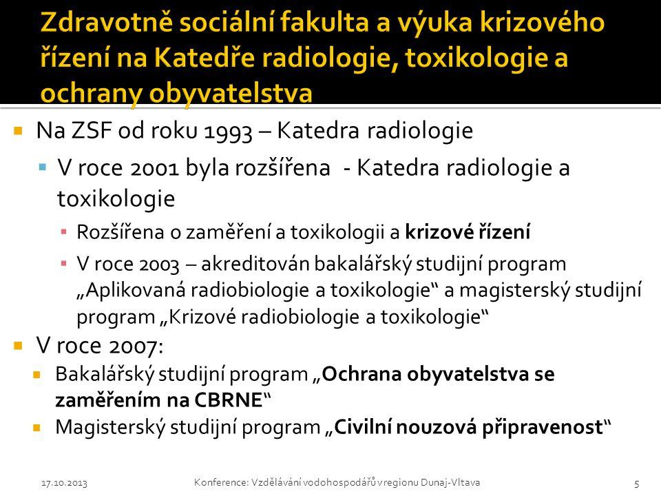 Zdravotně sociální fakulta a výuka krizového řízení na Katedře radiologie, toxikologie a ochrany obyvatelstva
