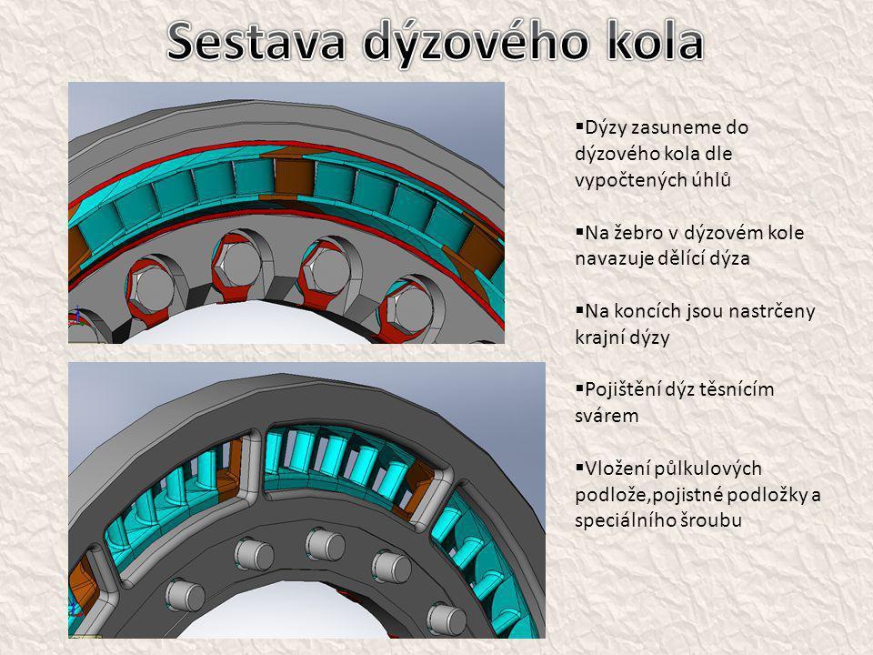 Sestava dýzového kola Dýzy zasuneme do dýzového kola dle vypočtených úhlů. Na žebro v dýzovém kole navazuje dělící dýza.