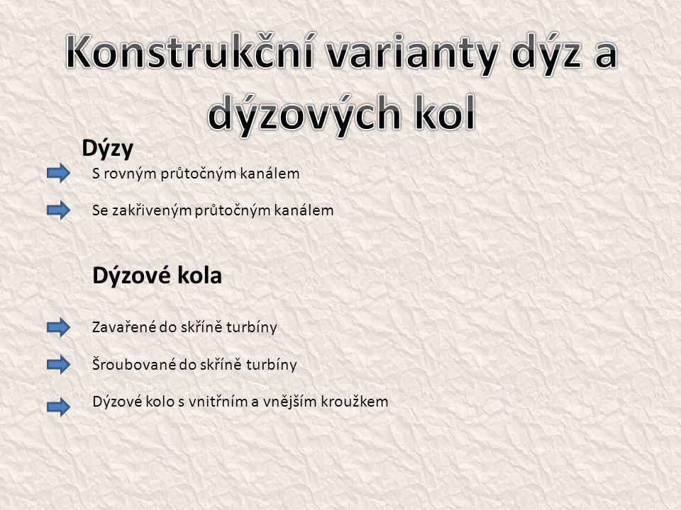 Konstrukční varianty dýz a dýzových kol