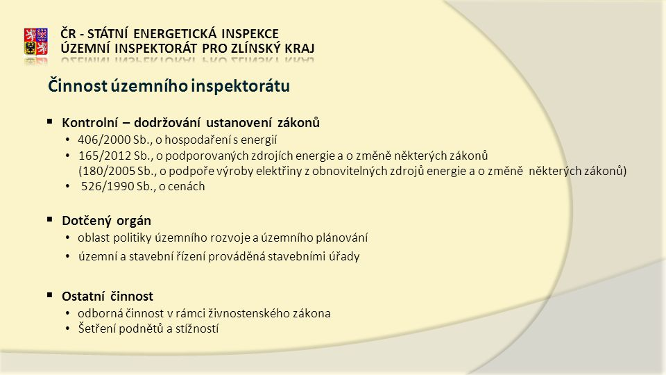 Činnost územního inspektorátu