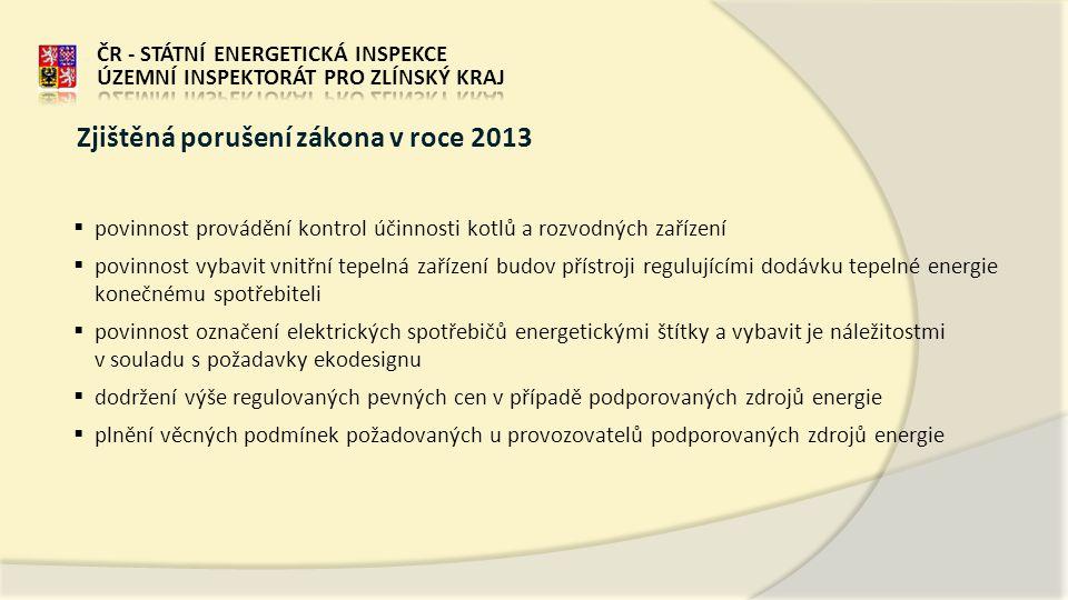 Zjištěná porušení zákona v roce 2013