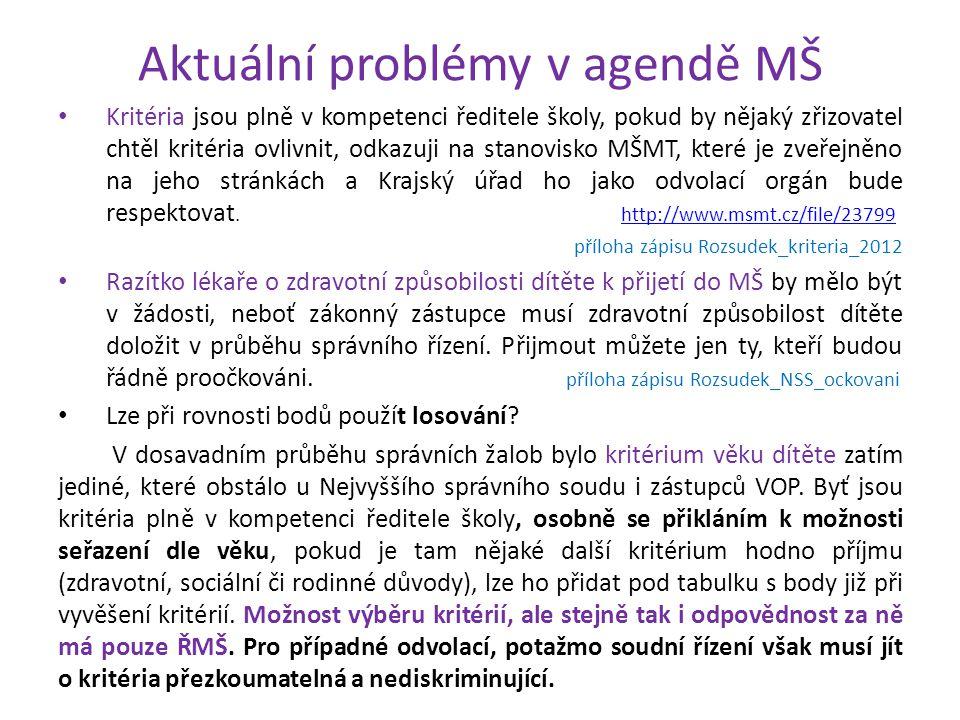 Aktuální problémy v agendě MŠ