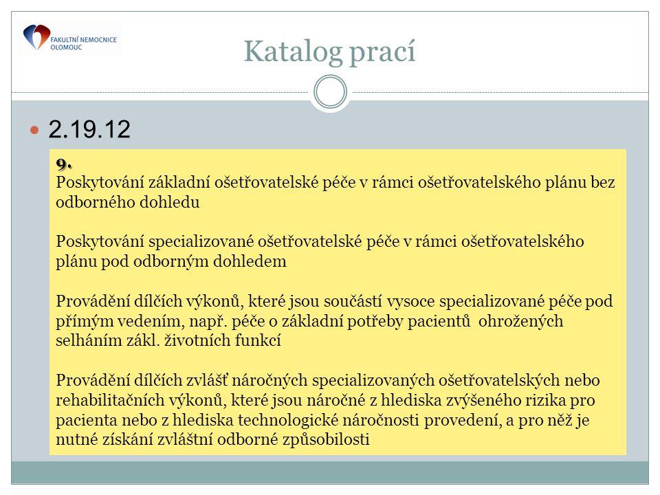 Katalog prací 2.19.12. 9. Poskytování základní ošetřovatelské péče v rámci ošetřovatelského plánu bez odborného dohledu.