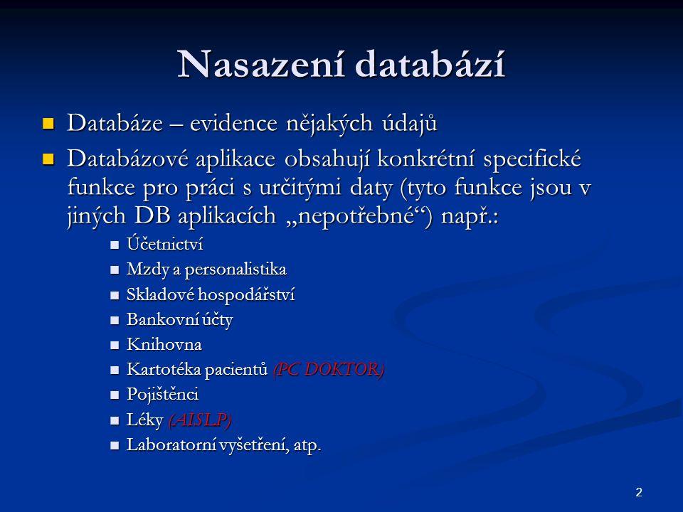 Nasazení databází Databáze – evidence nějakých údajů