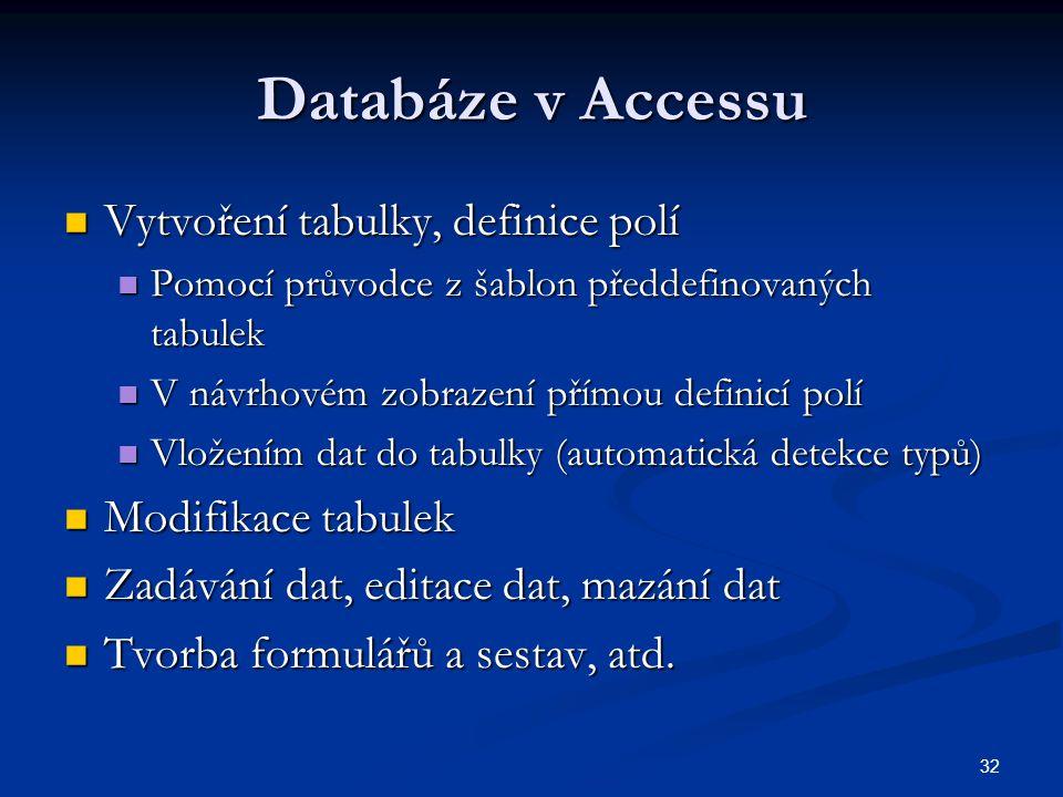 Databáze v Accessu Vytvoření tabulky, definice polí Modifikace tabulek