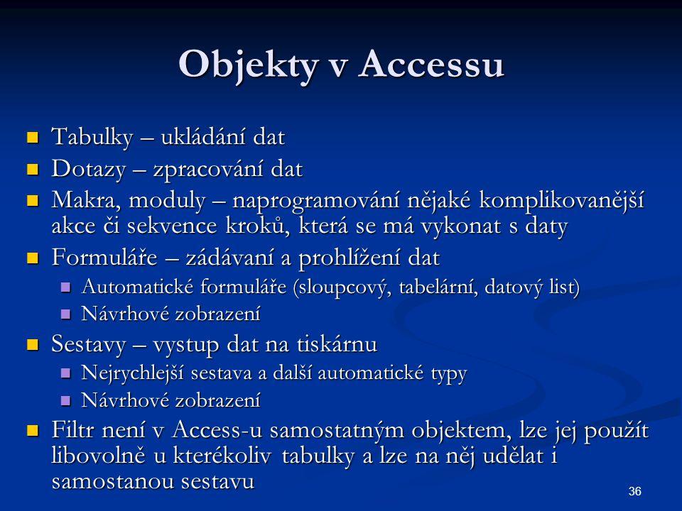 Objekty v Accessu Tabulky – ukládání dat Dotazy – zpracování dat