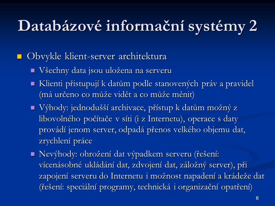 Databázové informační systémy 2