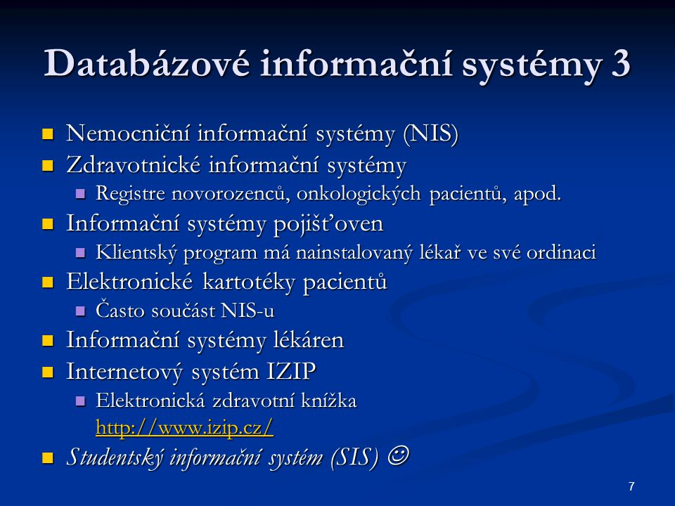 Databázové informační systémy 3