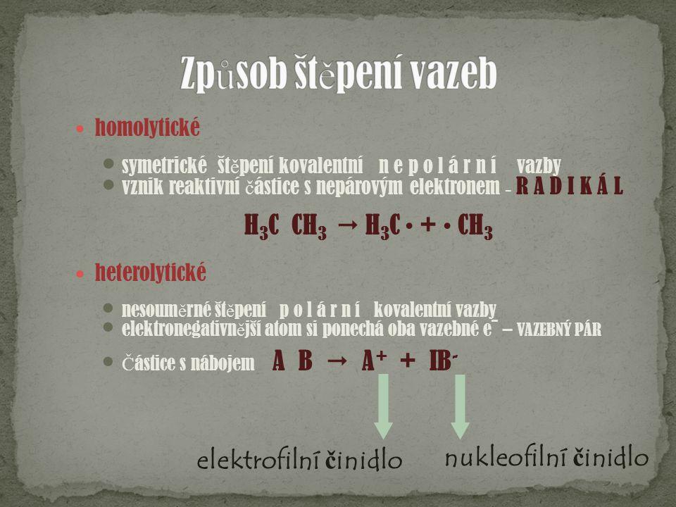 Způsob štěpení vazeb H3C  CH3  H3C • + • CH3 nukleofilní činidlo