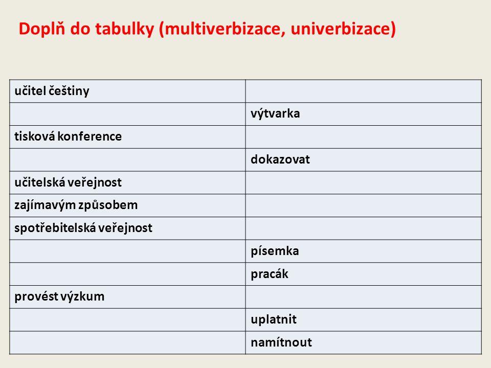 Doplň do tabulky (multiverbizace, univerbizace)