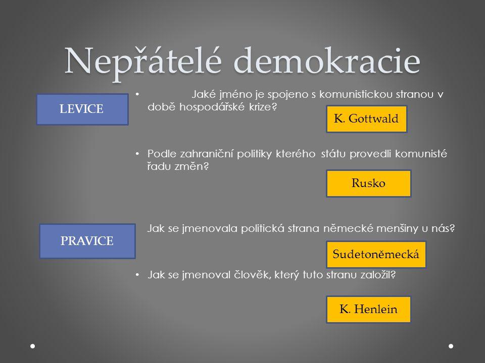 Nepřátelé demokracie LEVICE K. Gottwald Rusko PRAVICE Sudetoněmecká