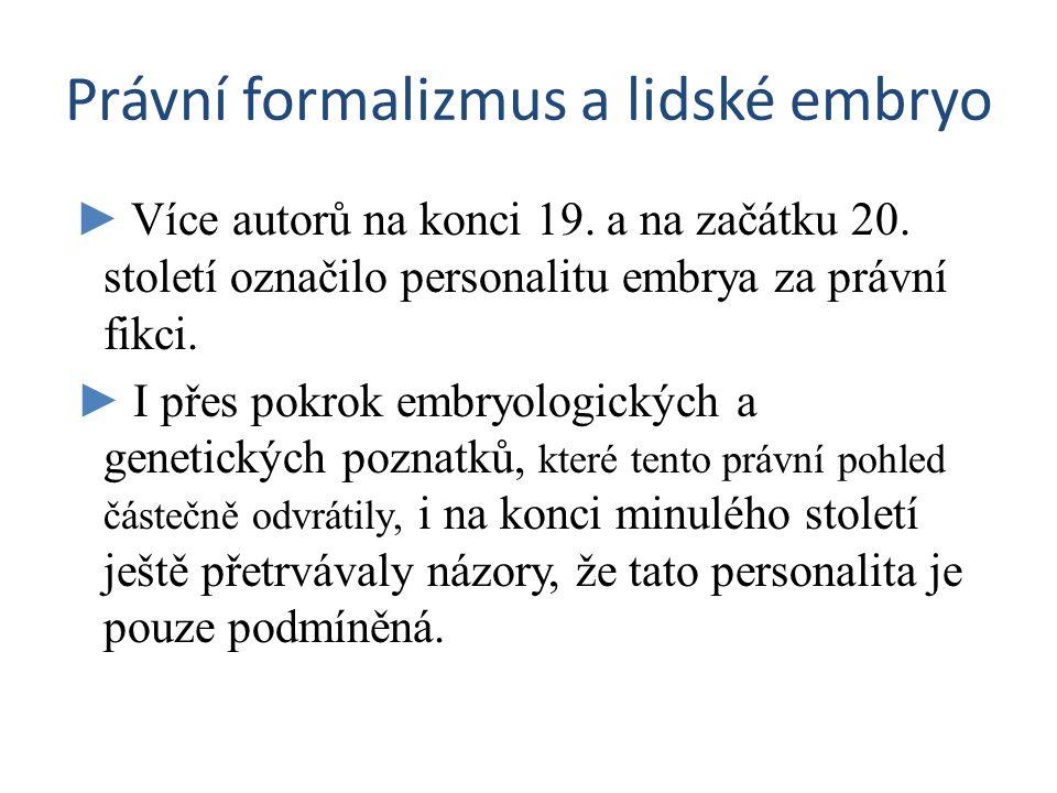 Právní formalizmus a lidské embryo