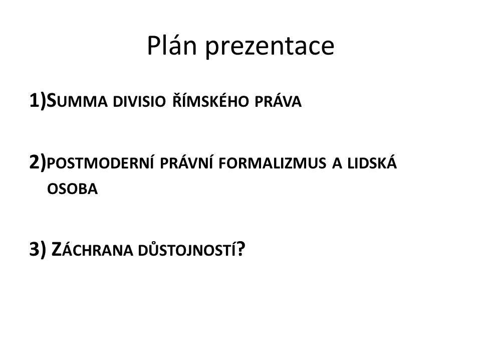 Plán prezentace 1)Summa divisio římského práva