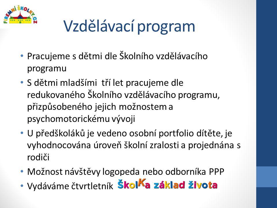 Vzdělávací program Pracujeme s dětmi dle Školního vzdělávacího programu.