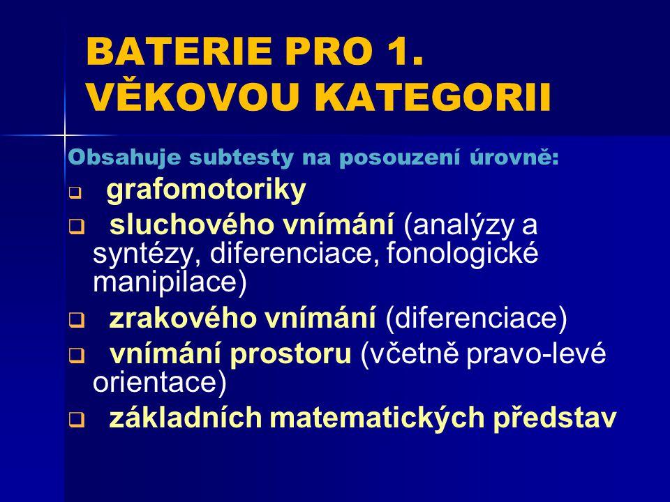 BATERIE PRO 1. VĚKOVOU KATEGORII