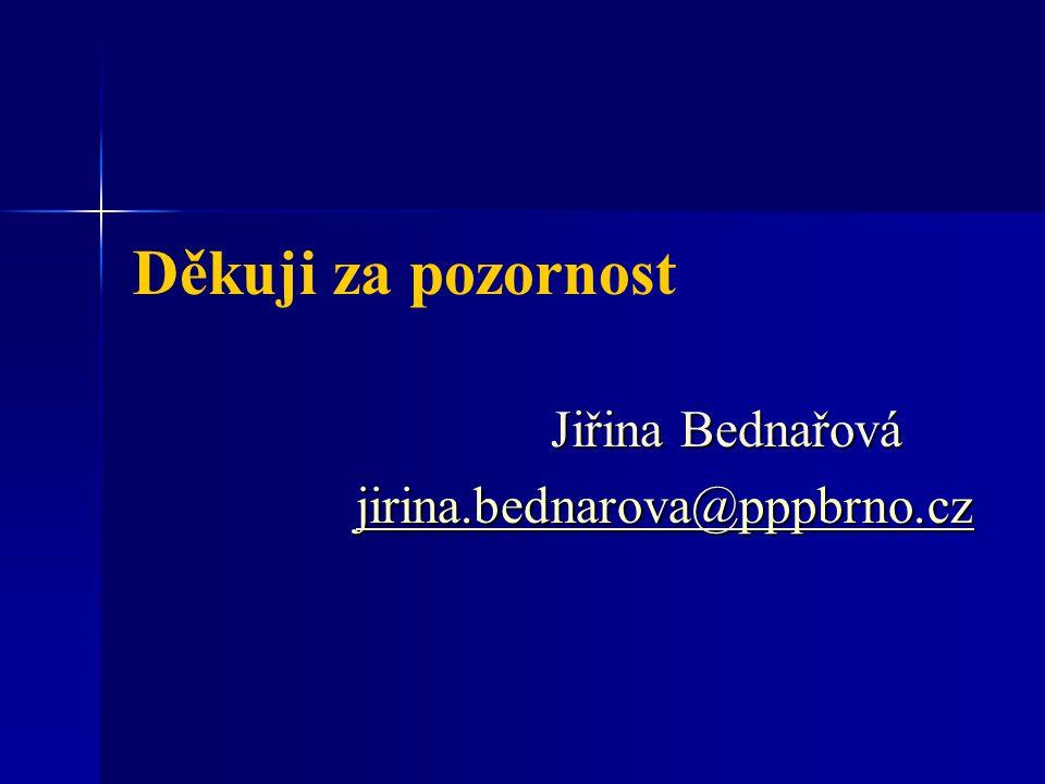 Děkuji za pozornost Jiřina Bednařová jirina.bednarova@pppbrno.cz