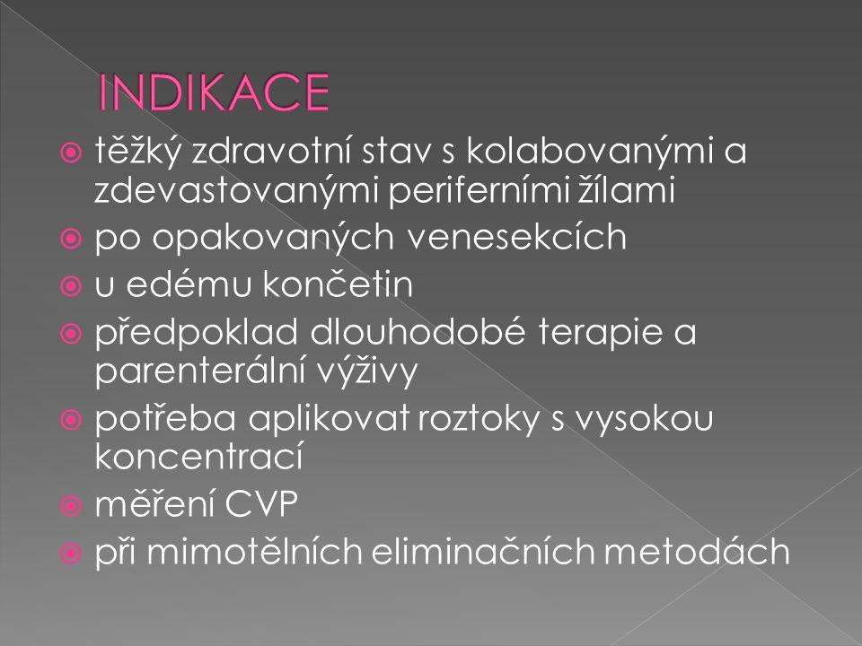 INDIKACE těžký zdravotní stav s kolabovanými a zdevastovanými periferními žílami. po opakovaných venesekcích.