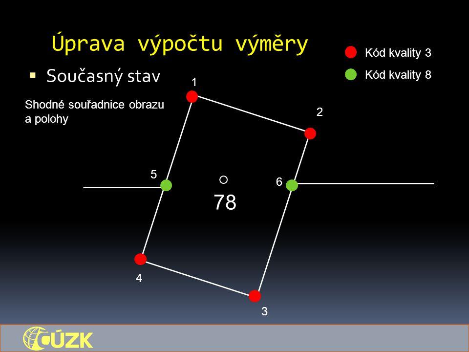 Úprava výpočtu výměry 78 Současný stav Kód kvality 3 Kód kvality 8 1