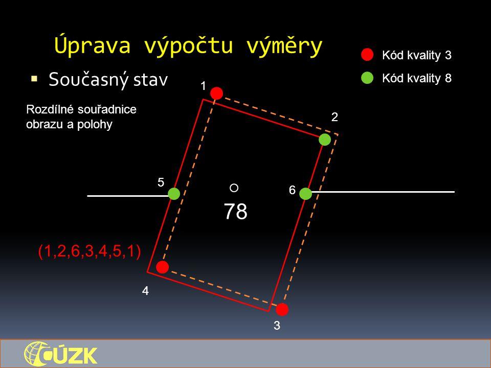 Úprava výpočtu výměry 78 Současný stav (1,2,6,3,4,5,1) Kód kvality 3