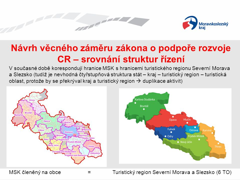 Návrh věcného záměru zákona o podpoře rozvoje CR – srovnání struktur řízení