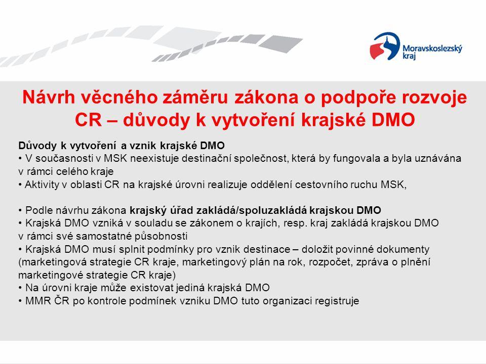 Návrh věcného záměru zákona o podpoře rozvoje CR – důvody k vytvoření krajské DMO