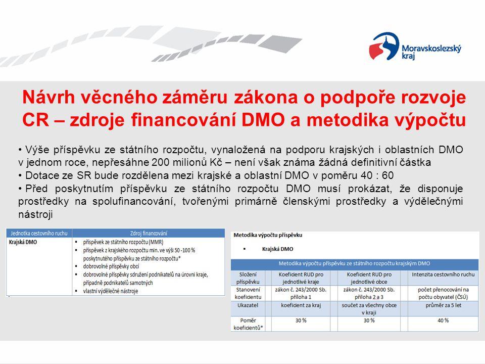 Návrh věcného záměru zákona o podpoře rozvoje CR – zdroje financování DMO a metodika výpočtu