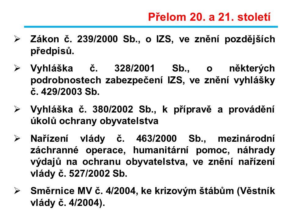 Přelom 20. a 21. století Zákon č. 239/2000 Sb., o IZS, ve znění pozdějších předpisů.