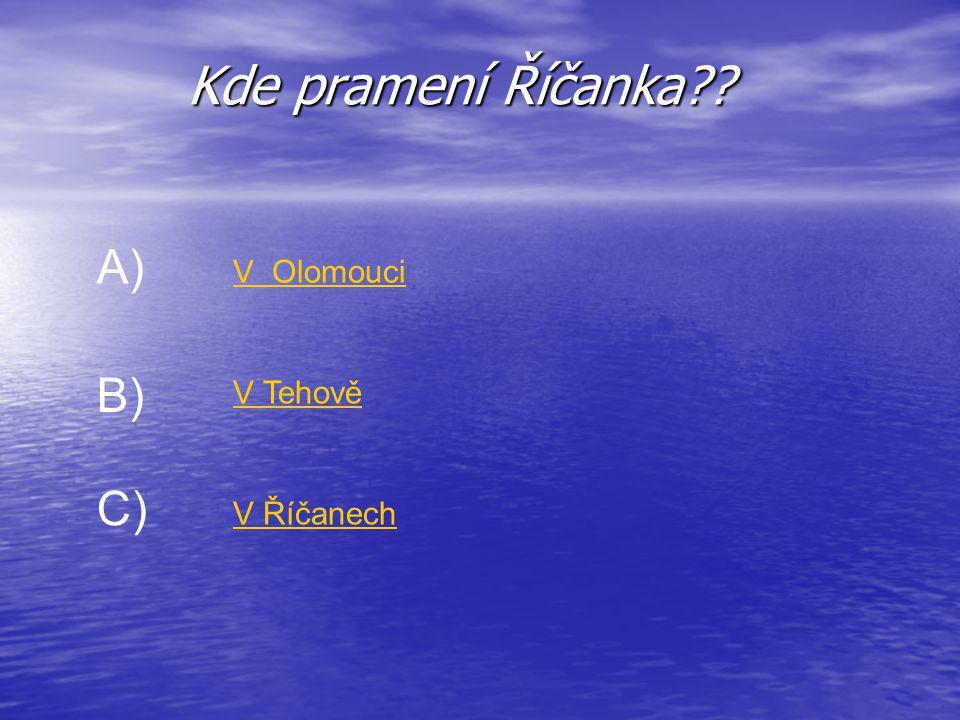 Kde pramení Říčanka A) V Olomouci B) V Tehově C) V Říčanech